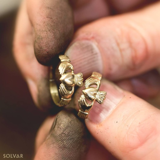 Craftsman creating Claddagh ring