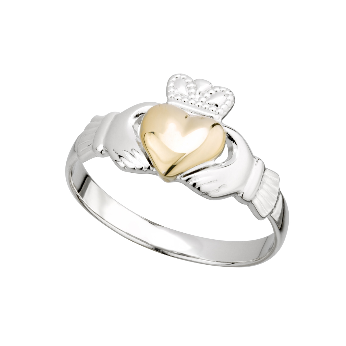 Solvar Silver and Gold Claddagh Ring