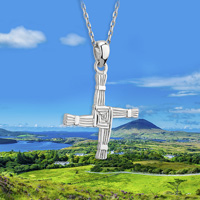 silver saint brigids cross necklace on chain